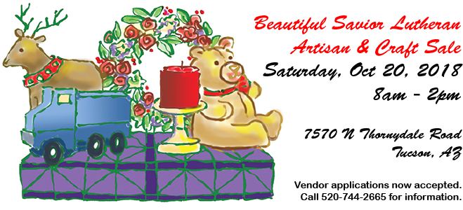 Artisan & Craft Sale on October 20th, 2018. Vendor applications due October 8th at 3pm