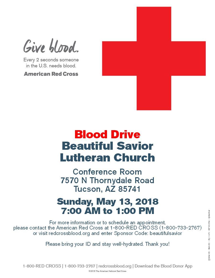 Blood drive at Beautiful Savior Church on May 13th, 7AM to 1PM