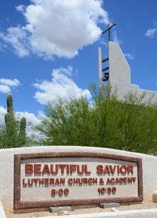 Entrance signage at Beautiful Savior Lutheran - Tucson