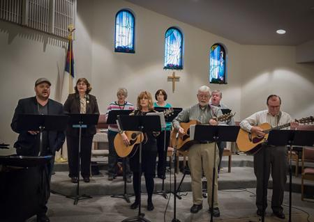 Fusion group provides contemporary music during Beautiful Savior Lutheran Sunday blended worship service.