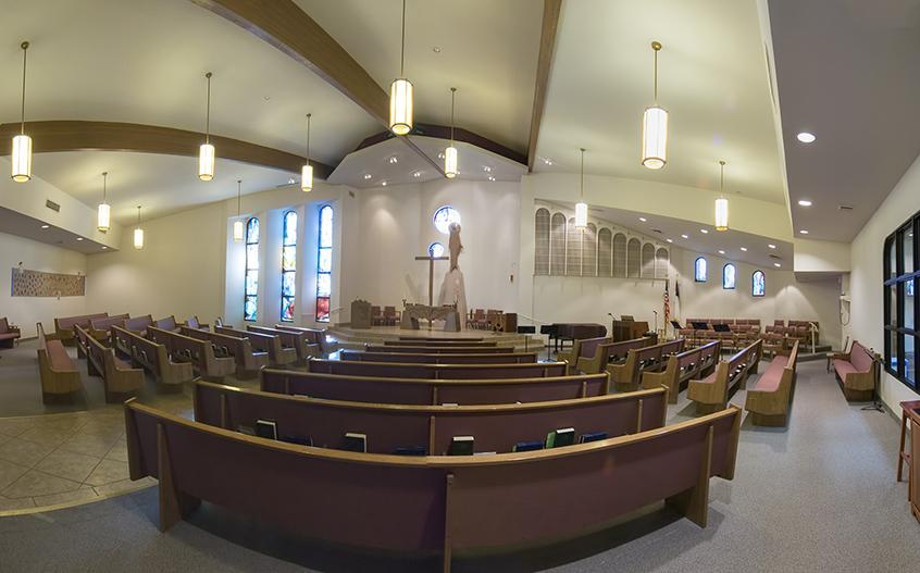 Panorama of Beautiful Savior Lutheran sanctuary
